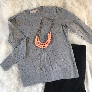 Petite Dot Puff Sleeve Sweater from Loft